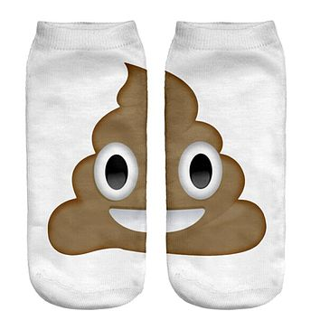 Fashion Hosiery 3D Poop Emoji Print Men Women Socks Cool Ankle Crew Socks Pretty Kids Slipper Socks Free Ship high quality