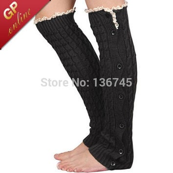 Button Boot Socks with Crochet Patterned Lace Knit Boot Cuffs Leg Warmers Women Legwarmers