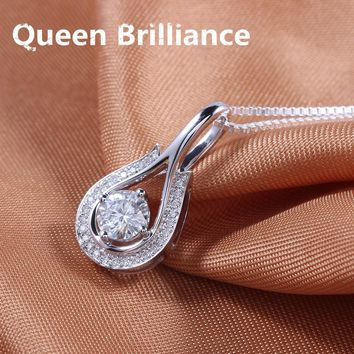 Queen Brilliance 0.5carat ctw F color Lab Grown Moissanite Diamond Necklace Pendant Genuine 18K 750 White Gold Free Shipping