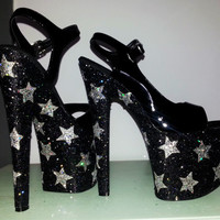 NIGHT GALAXY sexy black silver glitter stars Pleaser 8 inch exotic dancer stripper burlesque stiletto platform pole dance heels