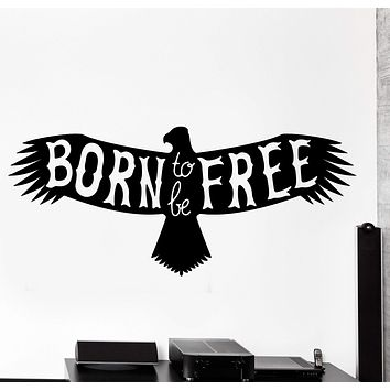Wall Vinyl Decal Eagle Symbol Of Freedom Born To Be Free Home Interior Decor Unique Gift z4257