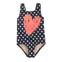 GIRLS' DOTTED SKETCHED HEART TANK