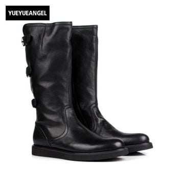 Italian Brand Mens Knee High Boots Personality Buckle Motorcycle Biker Footwear Genuine Leather Flats Knight Boots Martin Shoes