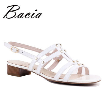 Bacia Pure Elegant Solid White Leather Sandals with Sequined Summer Fashion High Quality Handmade Ladies Sandalias Mujer VD009