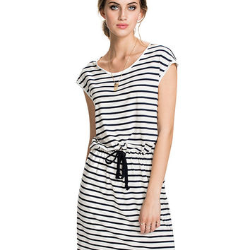 Striped Drawstring Short Sleeve Shift Mini Dress