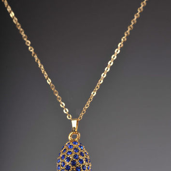 Necklace-Faberge Egg Gold Pendant black Crystals