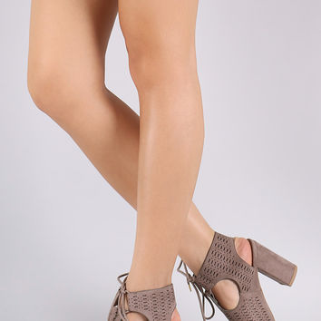 Qupid Perforated Cutout Lace-Tie Chunky Heeled Booties