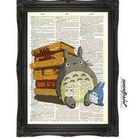 Totoro in the Library Book Lover Original Print on Unframed Upcycled Bookpaper