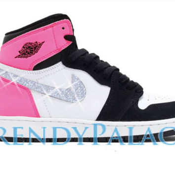 Custom Air Jordan Shoes-Swarvorski Jordan 1 OG-Girl Sizes-Blinged Out Shoes-Custom Sneakers-Air Jordan-Nike Air Jordan-Custom Jordan