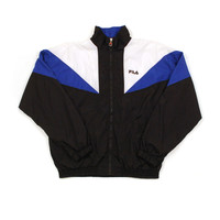 Vintage Fila Track Jacket, Black and Blue