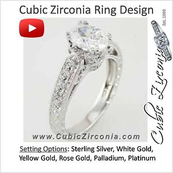 Cubic Zirconia Engagement Ring- The ________ Naming Rights 69-822 (1.33 Carat Vintage Oval-cut with Filigree & Peekaboo Accents)