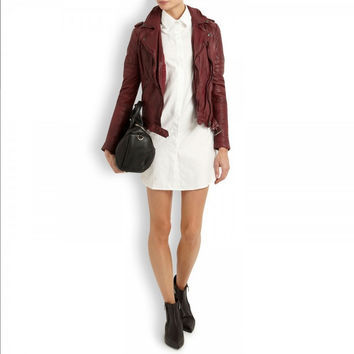 Sold Out! Muubaa Nido Uk 12 Us 8 Dark Red Oxblood Leather Skinny Biker Jacket
