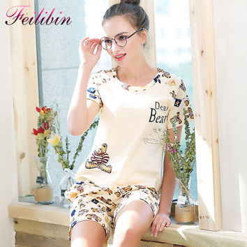 New Hot Sale Women Pajamas Sets Summer Short Sleeve Cotton Thin Pajamas Home Furnishing Clothing Cartoon Print Cute Plus SizeXXL