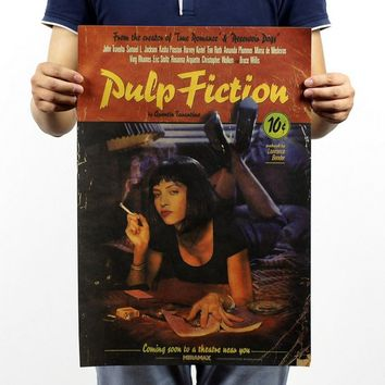 Free shipping,Pulp Fiction/Quentin Tarantino classic movie/kraft paper/bar poster/Retro Poster/decorative painting 51x35.5cm