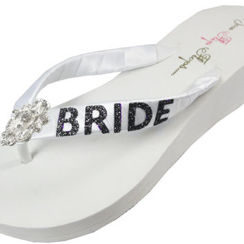 Black on Ivory or White Glitter Wedding Flip Flops