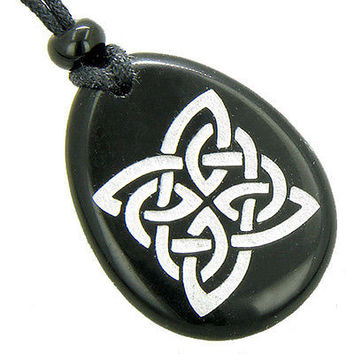 Magic Celtic Shield Knot Amulet Black Onyx Word Stone Necklace