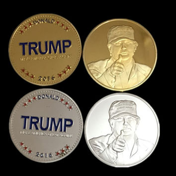 2 pcs/lot ( 1 silver + 1 gold ), The 2016 New York Candidate Trump gold silver plated replica souvenir coin set