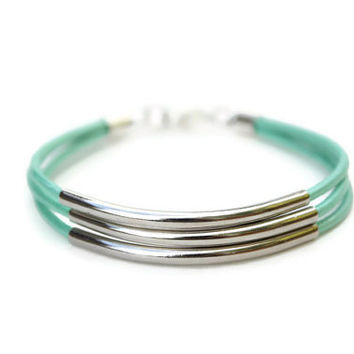 Silver Tube Multistrand Green Mint Leather Wrap Bracelet Bohemian Jewelry Fashion
