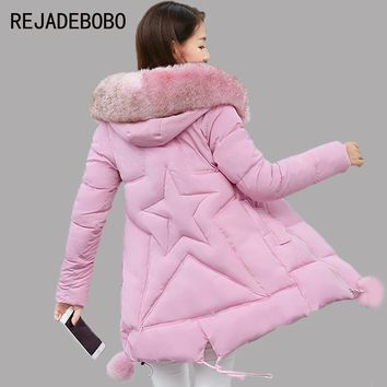 Winter 2017 New Have A Hat Long Cotton Jacket Women Coat Winter Thick  Coats Female Outerwear Women Parka Plus Size 3XL Coats