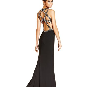 Hailey Logan Juniors Dress, Sleeveless Sequin Cutout Slit Gown - Dresses - Women - Macy's