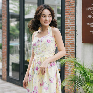 Yellow Summer Dress Floral Bridesmaid Dress Halter Dress Cotton Vintage Sundress Floral Dress Swing Dance Dress Tea Party Retro Pinup Dress