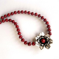 Coral Necklace, Sterling  Silver, Jewelry, Gemstone, Handmade Silver, Red, Women Jewelry, Pure Silver, Flower Silver