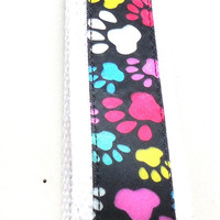 Wristlet Key Chain Key Ring Key Fob Multi Colored Paw Prints