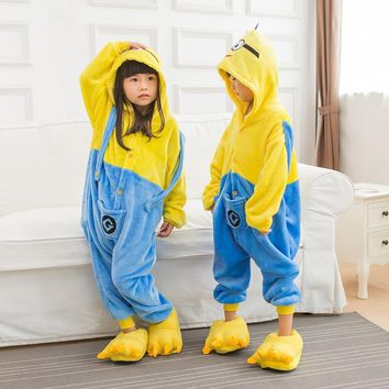 Kids Animal Pajama Unisex Boy Girl Cartoon Pyjama Minions Pikachu Unicorn Stitch Pijama Onesuit Hoodie Sleepwear