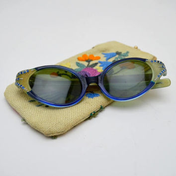 Vintage Cat Eye Sunglasses with Embroidered Case, Made in France, Yellow and Blue Eyeglass Frames with Rhinestones, circa 1950s
