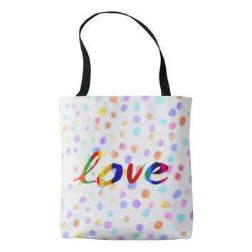 love tote bag colorful watercolor painted dots