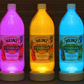 Heinz Vinegar 1 Quart Remote Control Glass Color Changing Bottle Lamp Light Kitchen Restaurant Decor Accent Light Bodacious Bottles