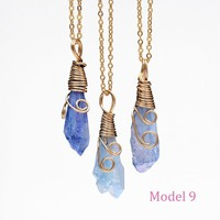 Handmade Colorful Wire Wrapped Raw Natural Crystal Necklaces