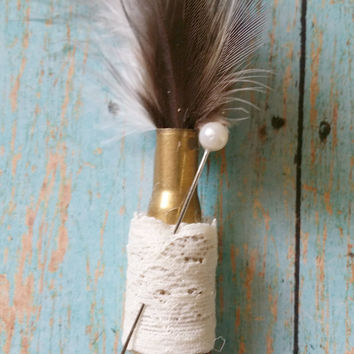Bullet Boutonniere / Feather Boutonniere / Lace Boutonniere / Country Chic Wedding / Rustic Boutonniere / Hunting Wedding