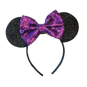 Purple Mickey Ears, Sparkly Mickey Ears, Purple Minnie Ears, Rainbow Ears, Minnie Ears, Rose Gold