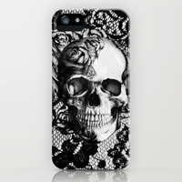 Rose skull on black lace base. iPhone & iPod Case by Kristy Patterson Design