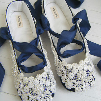 Something Blue Wedding Shoes Bridal Ballet Flats Jenna Bobka By Baby