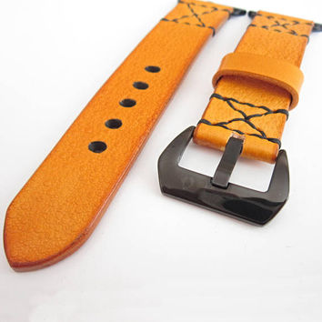 Apple Watch Band, Apple Watch Strap  42 mm Genuine Leather, Yellow Apple Strap