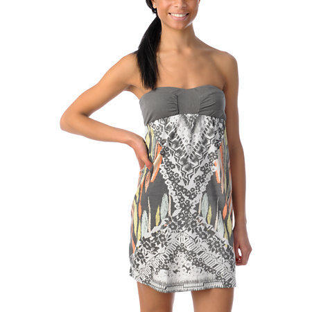 Billabong Moxie Grey Strapless Dress