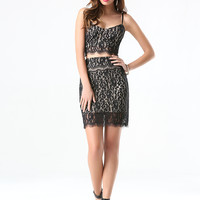 bebe Womens Lace 2-Piece Dress Black Neutral