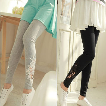 Women Lace Skinny Elastic Leggings Tights Pencil Pants Trousers Jeggings  7_S = 1916945284