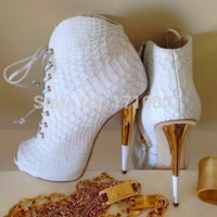 White Crocodile Skin High Heels Booties So Cute Lace Up Peep Toe Gold Sole Fashion Autumn Boots