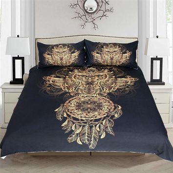 Golden Owl with Dreamcatcher King Size B Bedding Set