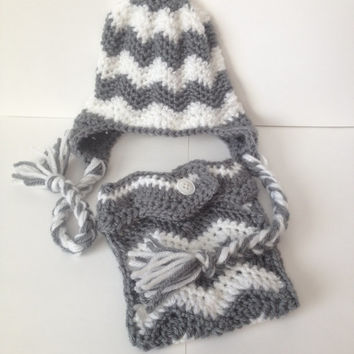 Chevron Pattern Beanie with matching Diaper Cover - Any Color & Up to 12 Months