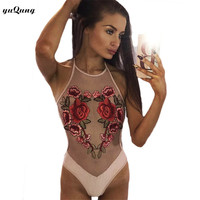 yuqung Summer Cami Bodysuit Sleeveless Sexy Body Suits for Women Club Women mesh see through flower embroidery Bodysuit I65