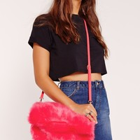 Missguided - Faux Fur Cuddle Clutch Fuschia Pink