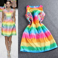 Rainbow Colors Printed Zipper Back Sleeveless Mini Dress