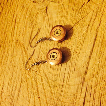 Earrings made from spent Russian 7.62x54r sniper rifle bullets