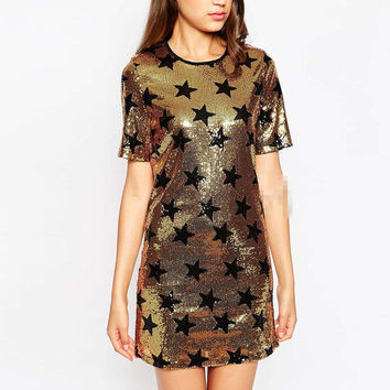 New Arrival Summer High Street Clubwear Female Clothes Women Casual Golden Sequins Short Sleeve Round Neck Short T-Shirt Dress