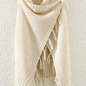 Beige Fringed Cape
