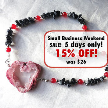 Romantic red geode heart choker necklace with black obsidian. Raw crystal druzy jewelry & silver. Adjustable short length. OOAK Unique!
